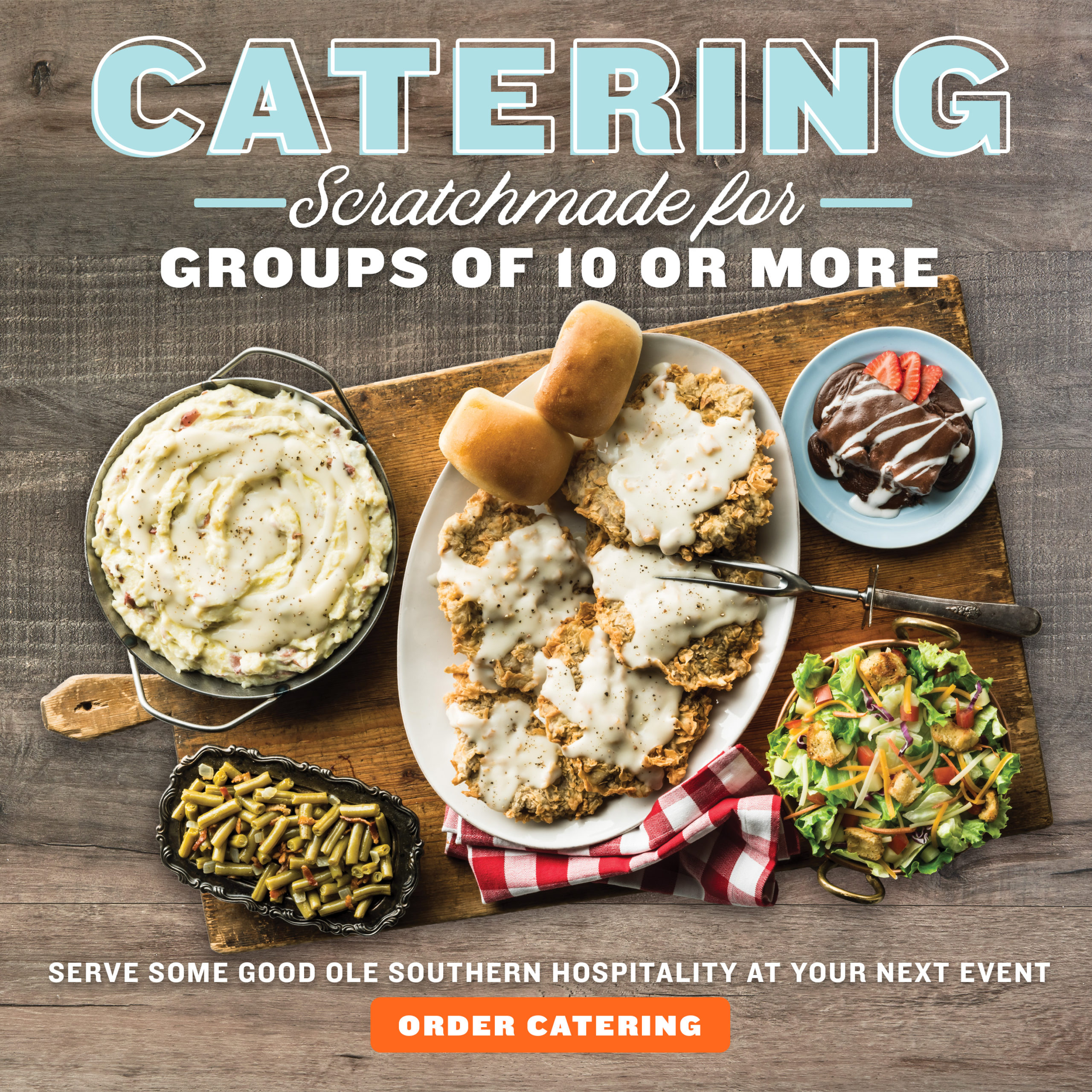 Catering: Scratchmade for groups of 10 or more. Serve some good ole Southern Hospitality at your next event